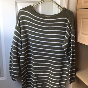 Loft Outlet Green and White Striped Sweater